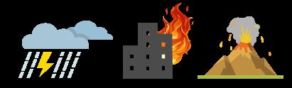 BCP(事業継続計画)・DR(ディザスタリカバリ)オプションは、たった数分で災害発生時にバックアップイメージからクラウドの仮想マシンへ瞬時に切り替えることのできるサービスです。