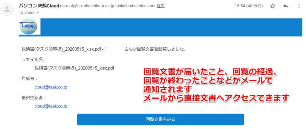 パソコン決裁Cloudの通知メール